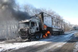 На трассе Харьков-Ростов сгорел грузовик с парфюмерией