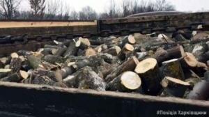 В Ізюмі поліцейські затримали автомобіль, яким незаконно перевозили деревину